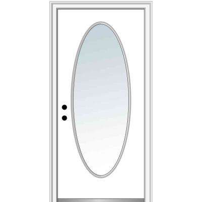 32 in. x 80 in. Classic Right-Hand Inswing Oval-Lite Clear Glass Primed Steel Prehung Front Door on 4-9/16 in. Frame