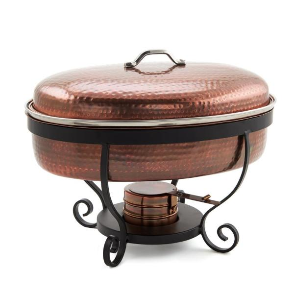 Old Dutch 16 in. x 14 in. x 13 in. 6 Qt. Hammered Antique Copper Chafing Dish
