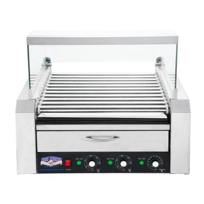 Commercial 1800-Watts 30-Hot Dog 11-Roller Grilling Machine with Cover
