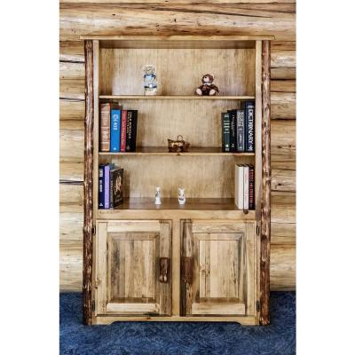63 in. Medium Brown Wood 3-shelf Standard Bookcase
