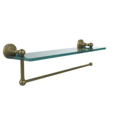 Waverly Place 22 in. L  x 5 in. H  x 5 in. W Paper Towel Holder with Clear Glass Shelf in Antique Brass