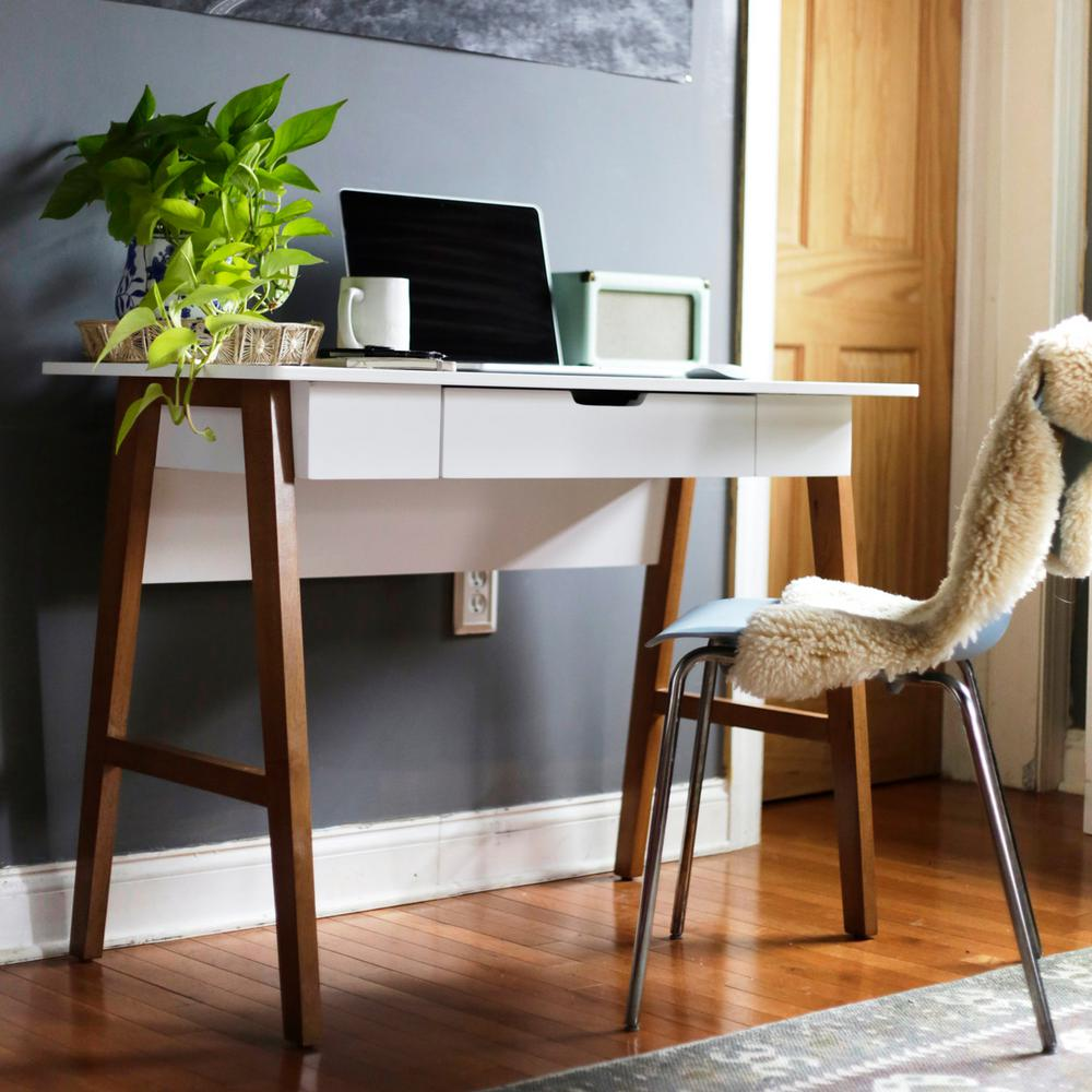 - Nathan James Telos White Home Office Writing Computer Desk 51101