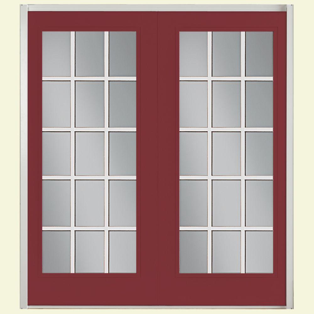 Masonite 72 in. x 80 in. Red Bluff Prehung Left-Hand Inswing 15 Lite Fiberglass Patio Door with No Brickmold in Vinyl Frame