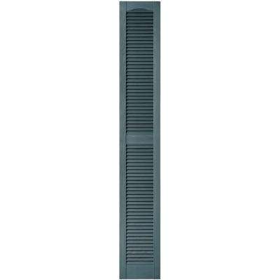 12 in. x 80 in. Louvered Vinyl Exterior Shutters Pair in #004 Wedgewood Blue