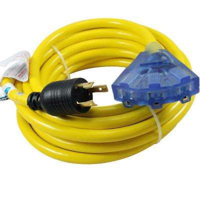 25 ft. 10/3 30 Amp 125-Volt L5-30P Locking Plug to Household Tri-Outlets with Light Indicator