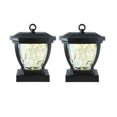 Solar Bronze Outdoor Integrated Led Deck Post Light With Water Gl Lens 2 Pack