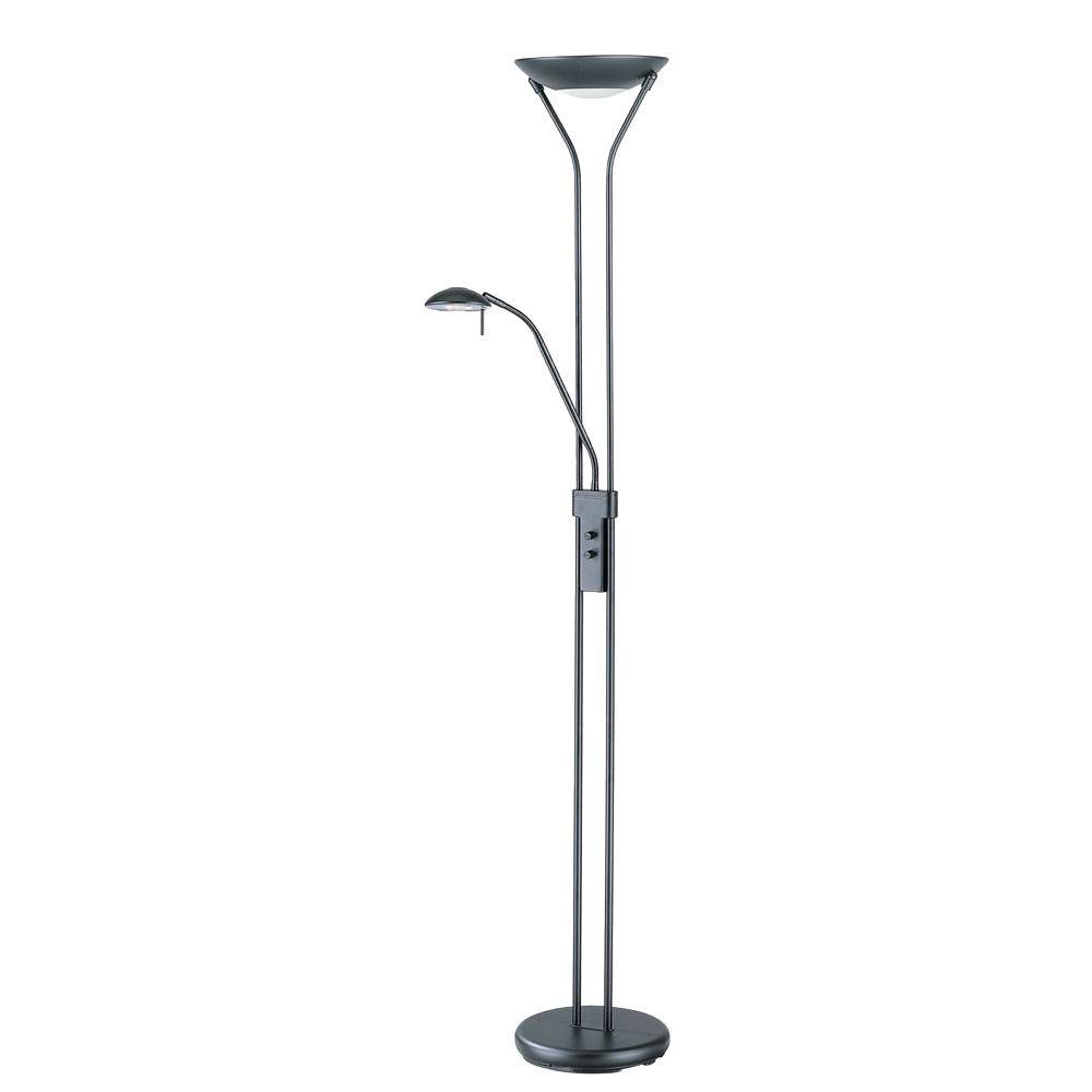 Illumine 71 in. Black Torchiere Lamp