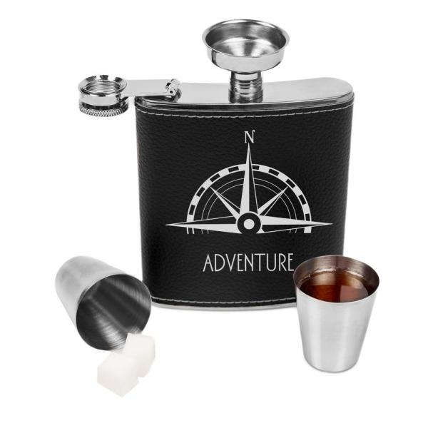 Compass Leather Wrapped Flask Set COM1343BK7ST