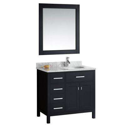 London 36 in. W x 22 in. D Vanity in Espresso with Marble Vanity Top and Mirror in Carrara White
