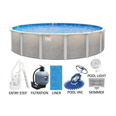 Ashford 21 ft. Round 52 in. Deep Hard Side Metal Wall and Frame Above Ground Pool Package with Entry Step System