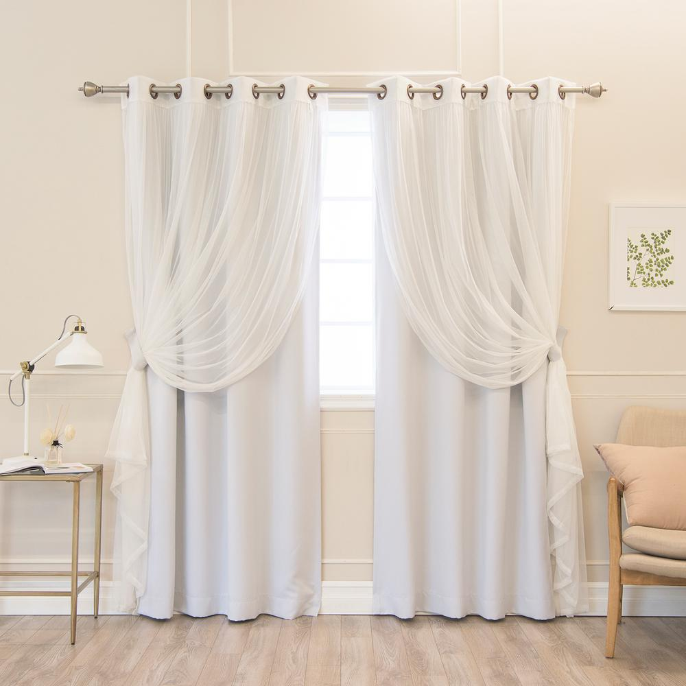 Best Home Fashion 84 in. L uMIXm Vapor  Tulle and Blackout Curtain Panel (4-Pack)