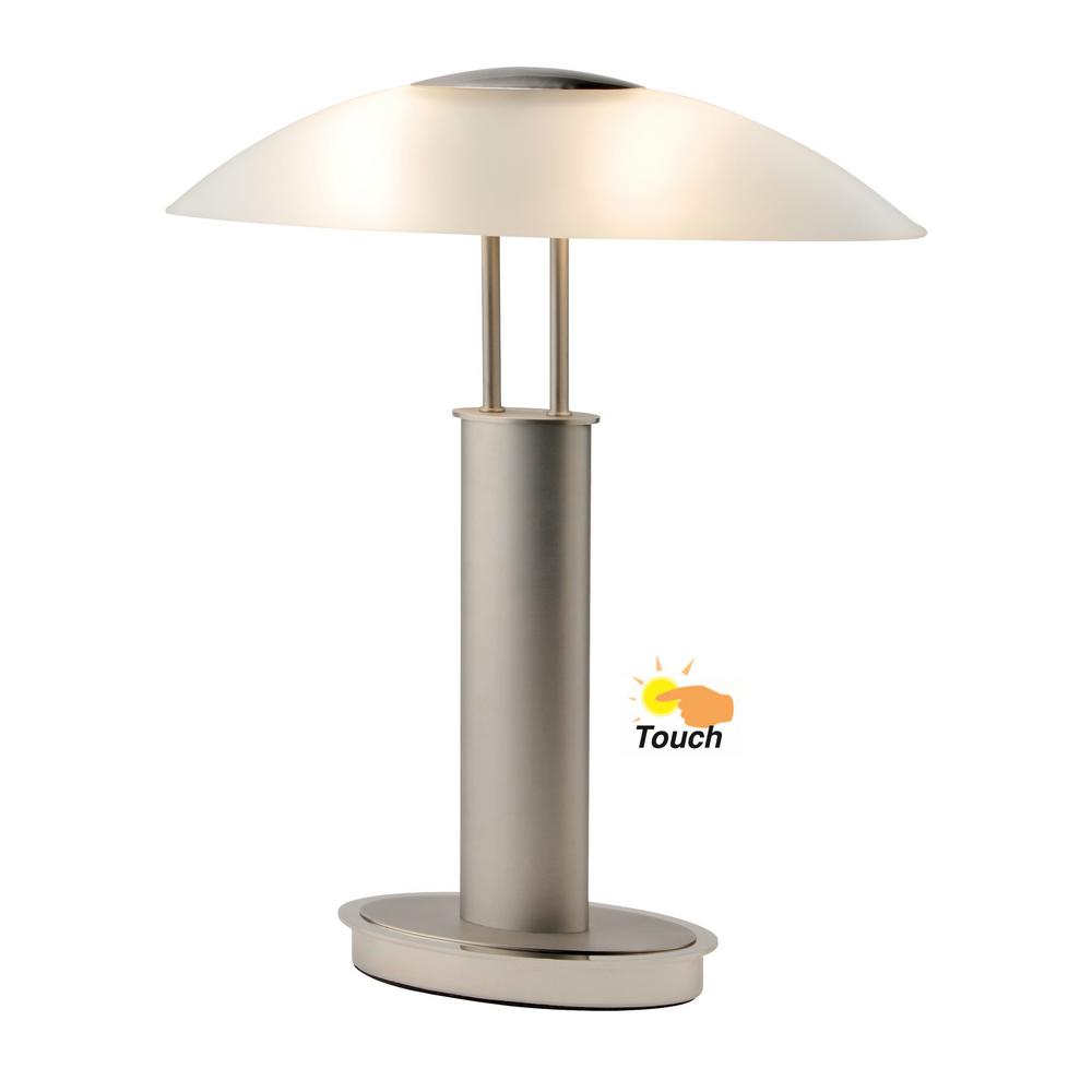 Artiva Avalon Modern 2 Tone 18 5 In Nickel Table Lamp With Oval Canoe