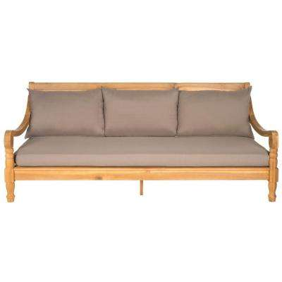 Pasadena Teak Brown Patio Bench with Taupe Cushions