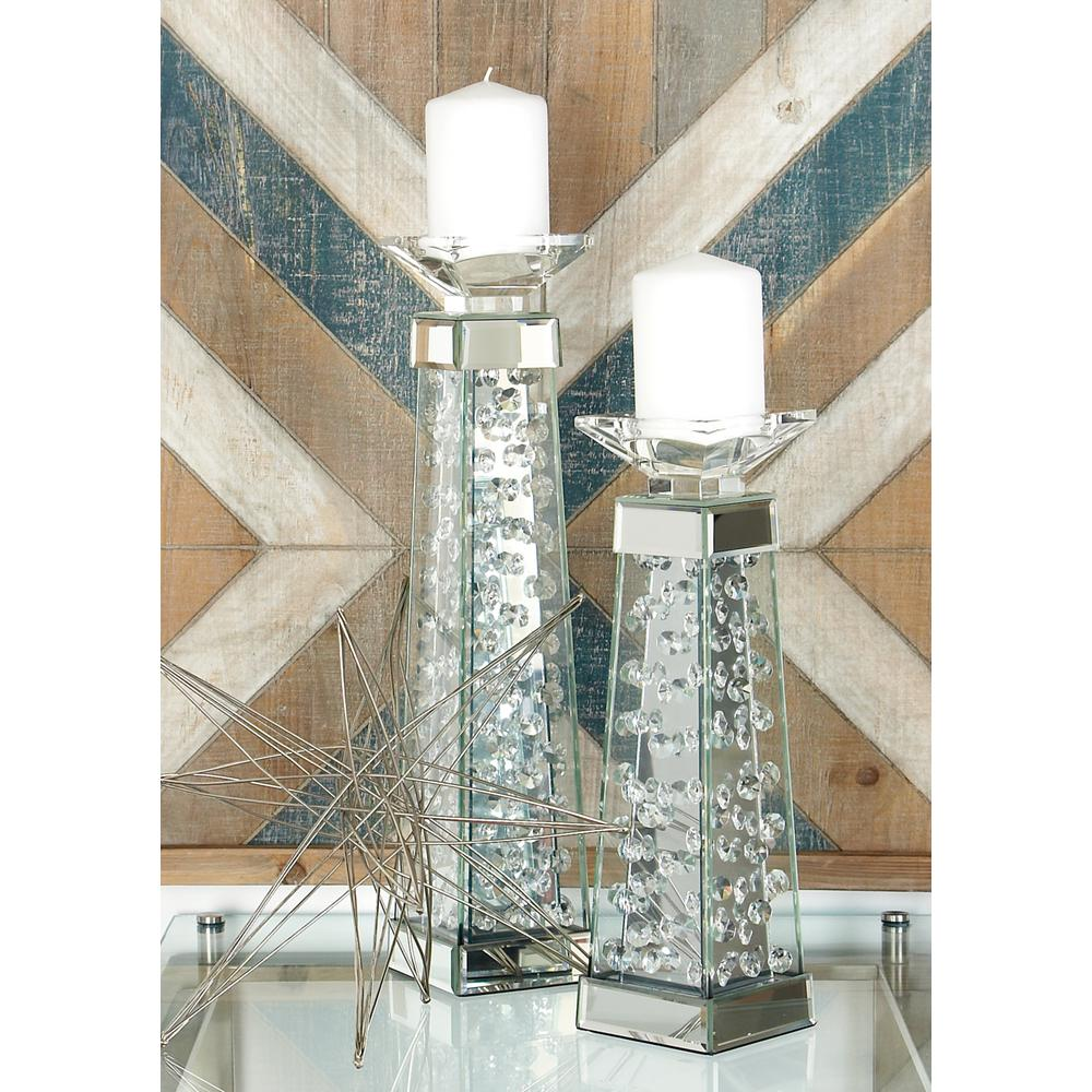 18 in. Clear Glass and Mirror Pedestal Candle Holder