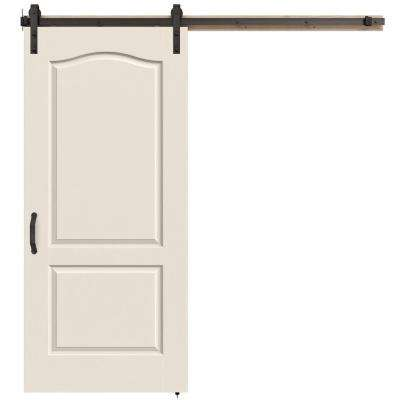 36 in. x 84 in. Camden Primed Smooth Molded Composite MDF Barn Door with Rustic Hardware Kit