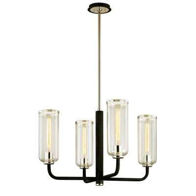 Aeon 4-Light Carbide Black 28.75 in. D Chandelier with Clear Glass Shade
