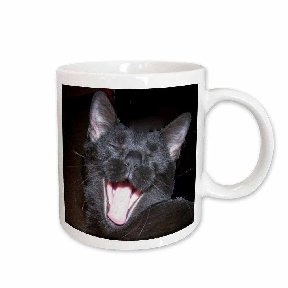 Sandy Mertens Cat Designs 11 oz. White Ceramic Black Cat Yawning Mug