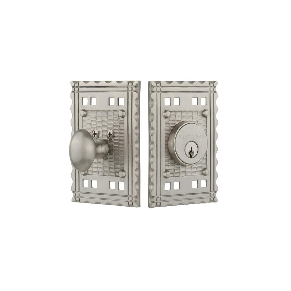 Craftsman Plate 2-3/8 in. Backset Single Cylinder Deadbolt in Satin Nickel
