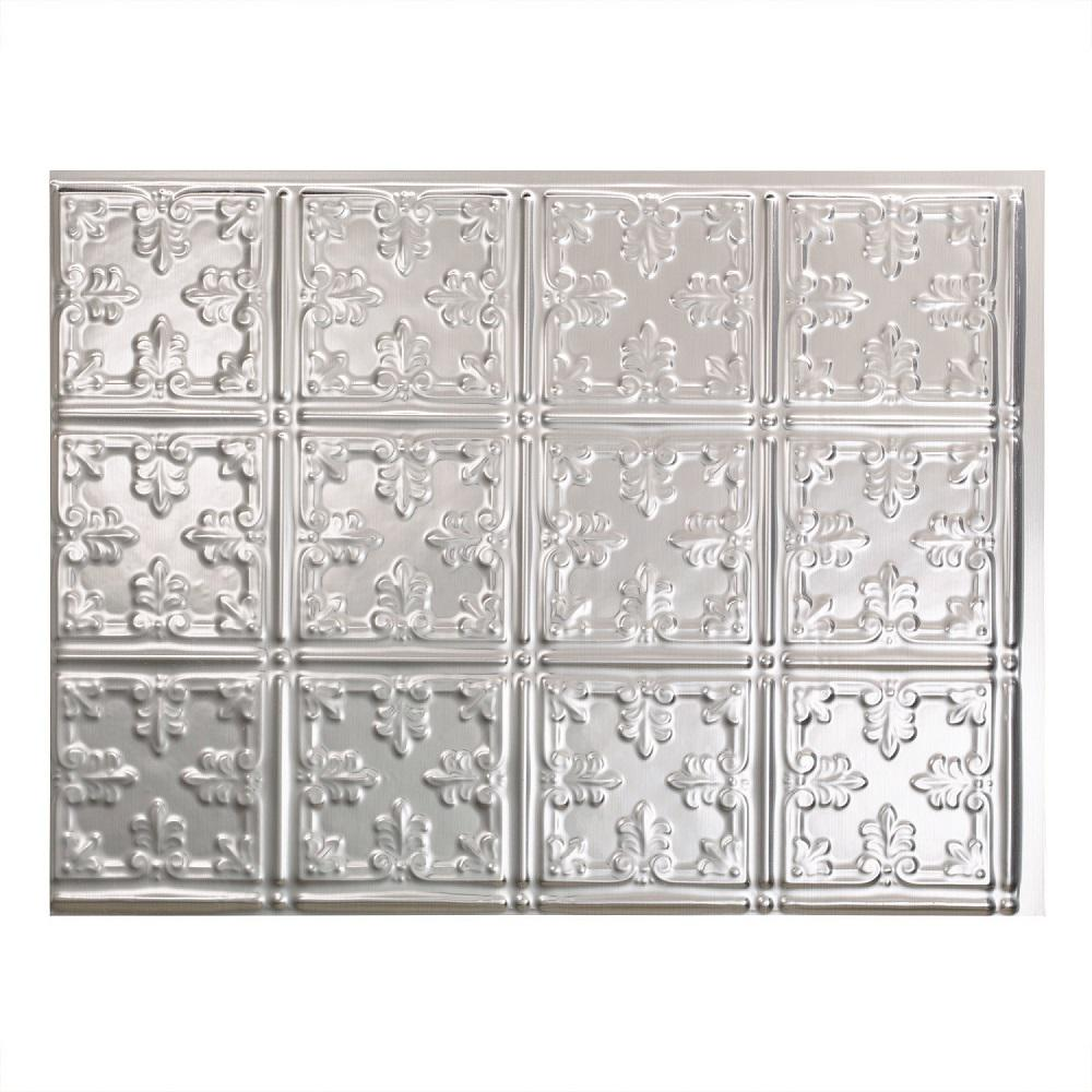 Fasade Traditional Style 10 Brushed Aluminum 18 In X 24: Fasade 24 In. X 18 In. Traditional 10 PVC Decorative Tile