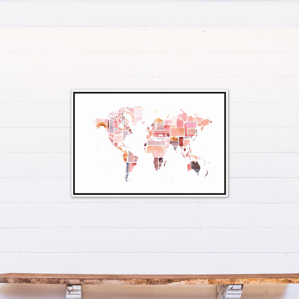 DESIGNS DIRECT In X In Pink World Map Printed Framed - White framed world map