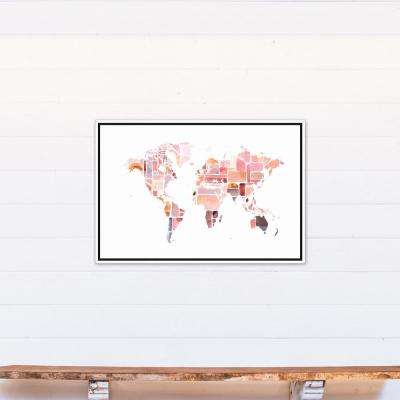 24 in. x 36 in. ''Pink World Map'' Printed Framed Canvas Wall Art