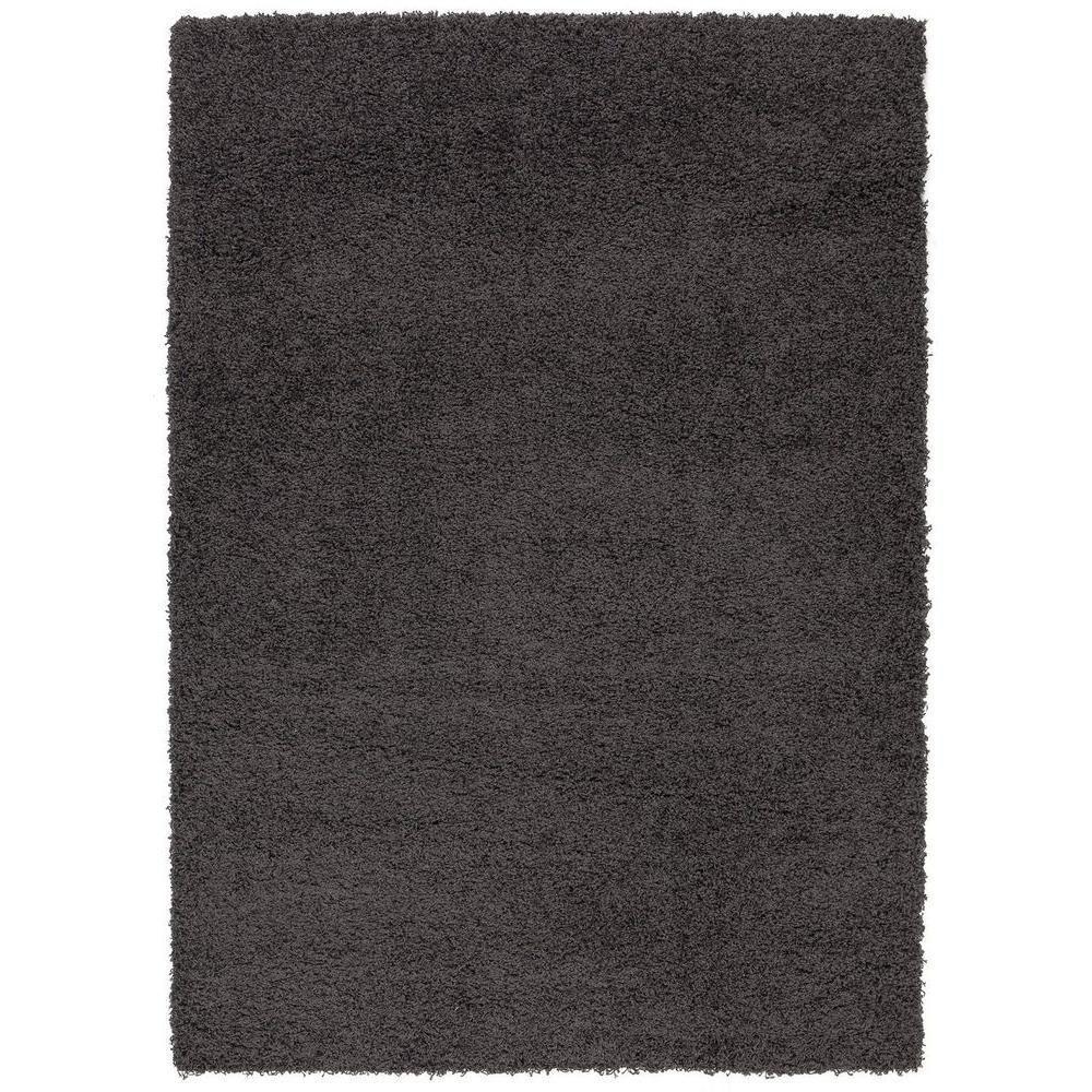 e19510360cd0d Berrnour Home Plush Solid Shaggy Dark Grey 5 ft. x 7 ft. Shag Area ...