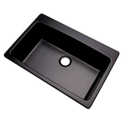 Rockland Dual Mount Composite Granite 33 in. 0-Hole Single Bowl Kitchen Sink in Black