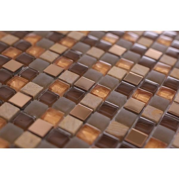 Terrazas Micro Squares Mix Ochre 12 In X 12 In X 6mm Glass Steel And Stones Mosaic Tile Vt0338c4255 The Home Depot