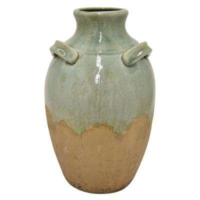 16 in. Green Ceramic Vase