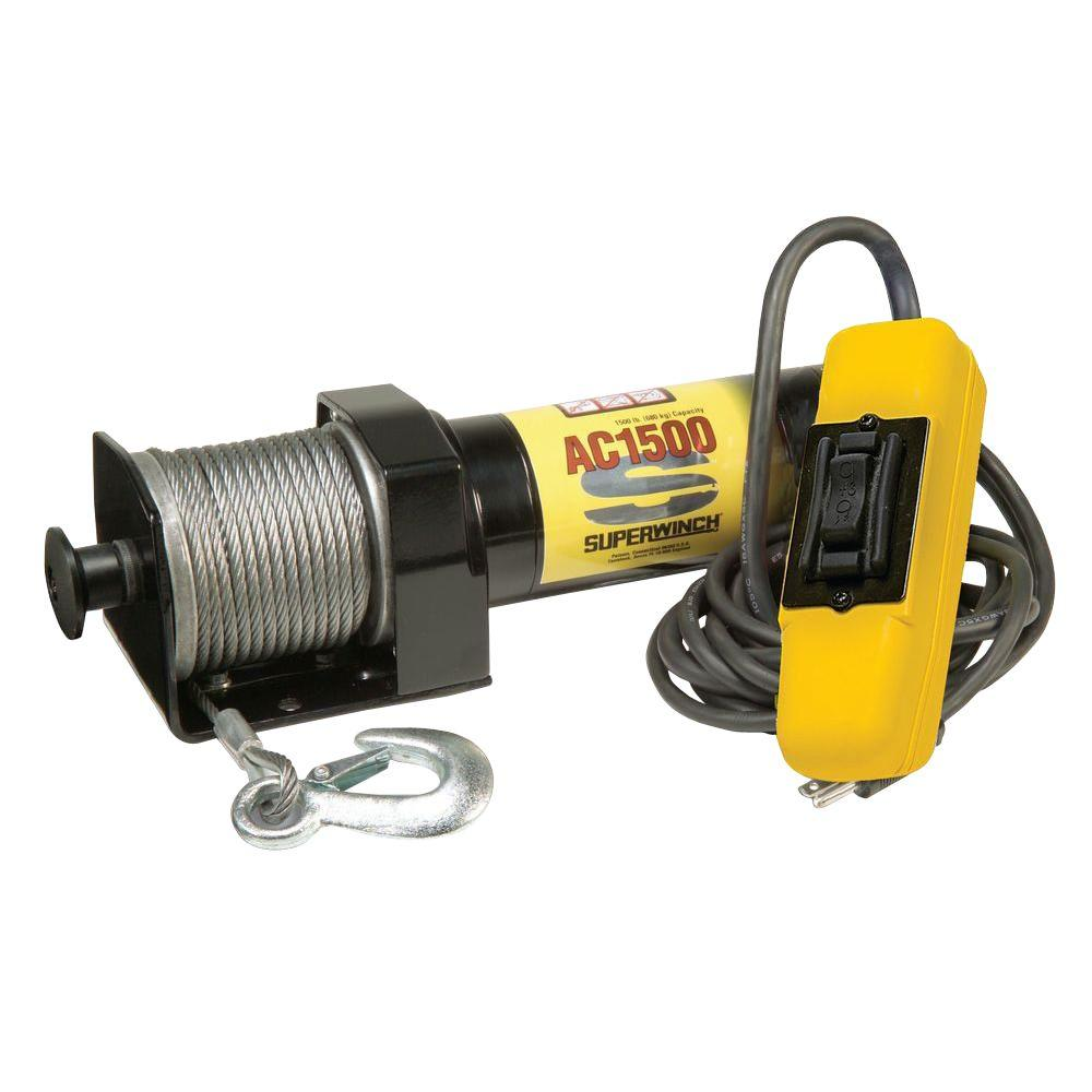 AC1500 115-Volt AC Industrial Winch with Free-Spooling Clutch and 6 ft.