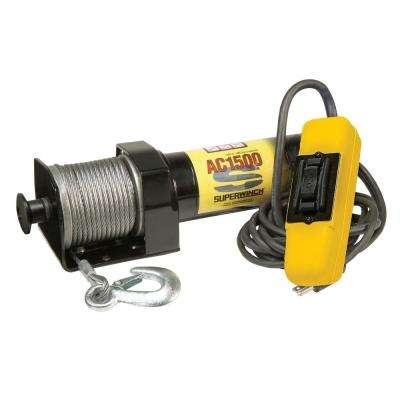 AC1500 115-Volt AC Industrial Winch with Free-Spooling Clutch and 6 ft. Remote