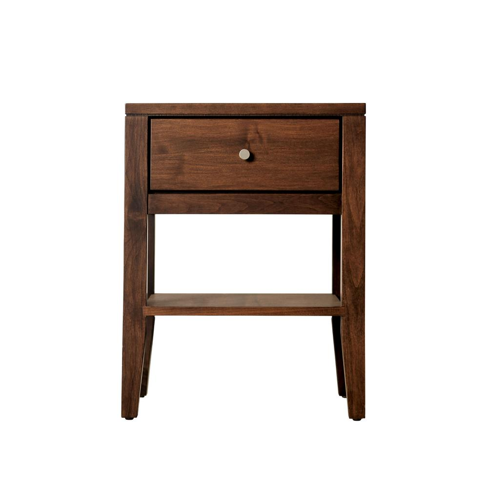 Amara Solid Maple Espresso Nightstand With Drawer