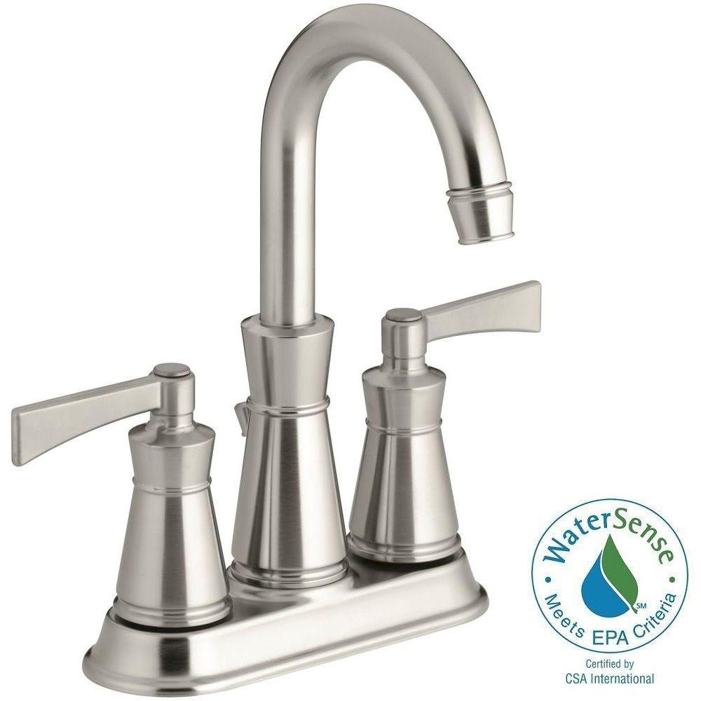 kohler archer 4 in centerset 2 handle high arc water saving bathroom faucet in vibrant brushed nickel k 11075 4 bn the home depot - Bathroom Faucets Home Depot