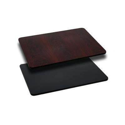 24 in. x 30 in. Rectangular Black and Mahogany Table Top with Reversible Laminate Top