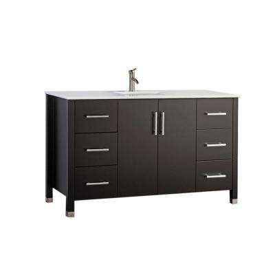 Moselle 48 in. W x 22 in. D x 36 in. H Bath Vanity in Espresso with Microstone Vanity Top in White with White Basin