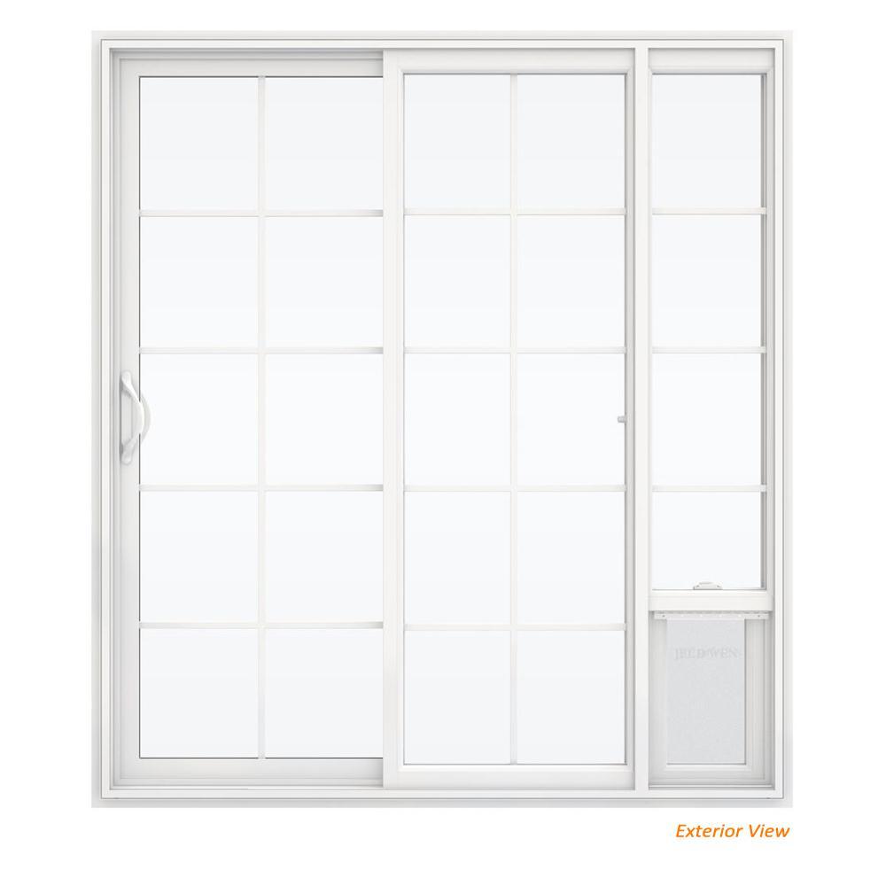 72 in. x 80 in. White Left Hand Vinyl Patio Door with Low-E Argon Glass, Grids and Large Pet Door