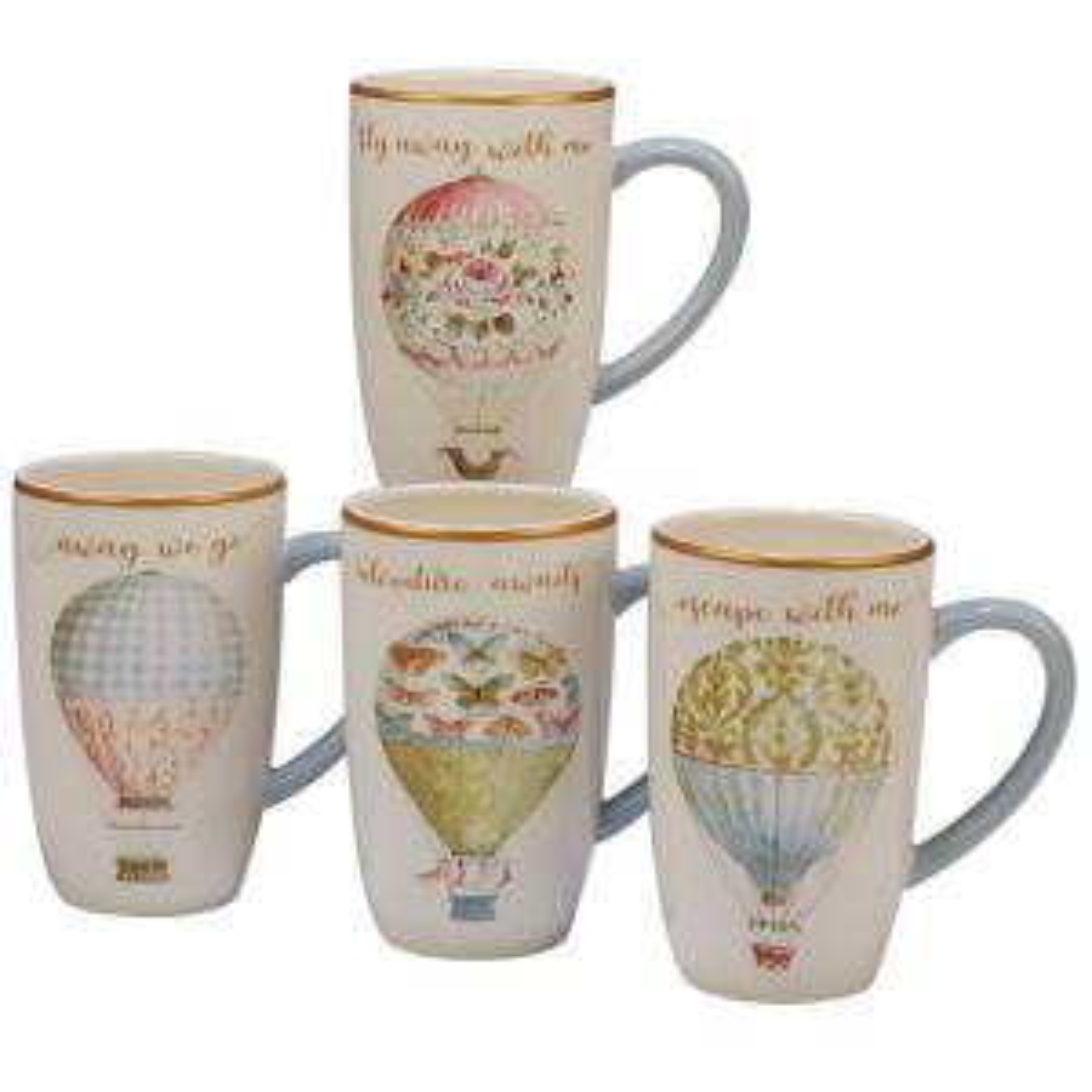 Beautiful Romance 4-Piece Multi-Colored 16 oz. Balloon Mug Set