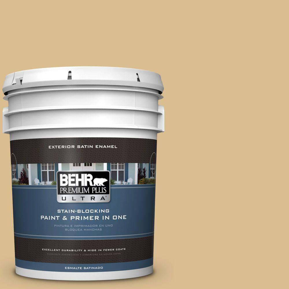 BEHR Premium Plus Ultra 5-gal. #340F-4 Expedition Khaki Satin Enamel Exterior Paint