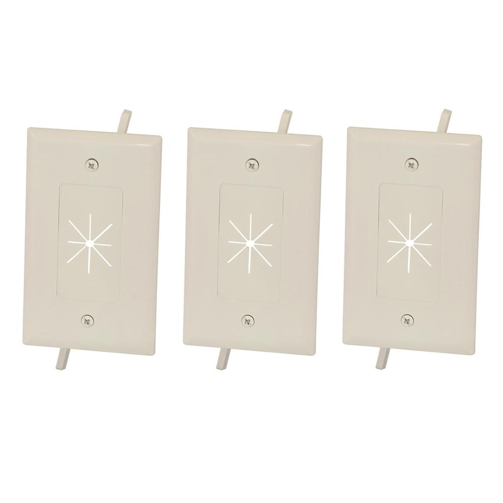 5x Low Voltage Pass through AV Cable Decora Insert w// Flexible Opening Ivory
