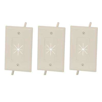 1-Gang Flexible Opening Cable Wall Plate, Light Almond (3-Pack)
