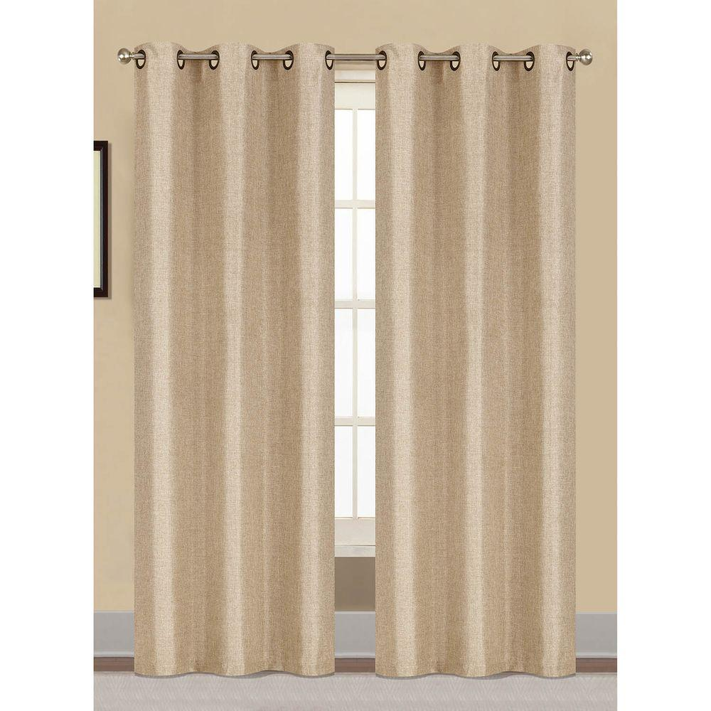 Window Elements Semi-Opaque Willow Textured Woven 84 in. L Grommet Curtain Panel Pair, Ivory (Set of 2)