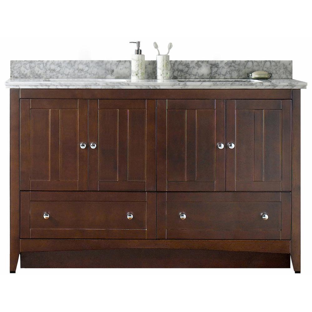 16-Gauge-Sinks 59 in. W x 18.25 in. D Bath Vanity in Walnut with Stone Vanity Top in Bianca Carara with White Basin