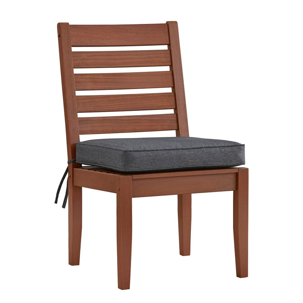 Verdon Gorge Brown Wood Outdoor Dining Chair with Gray Cushion (2-Pack)