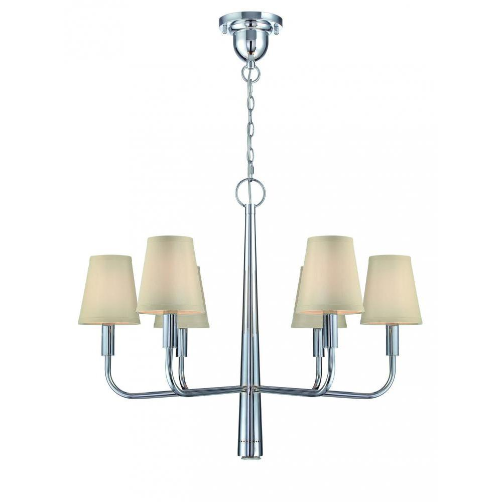 6-Light Polished Chrome Chandelier with White Fabric Shades