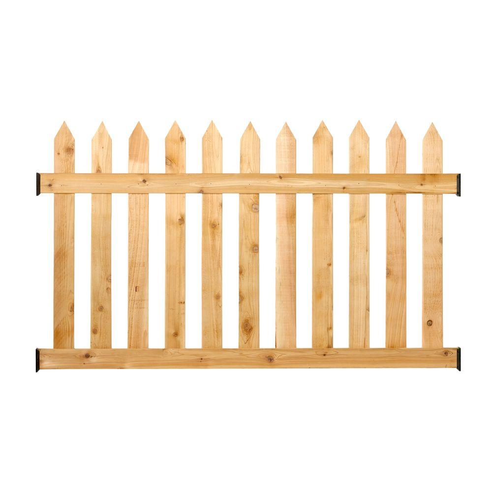 w cedar spaced picket routed fence panel kit217784 the home depot