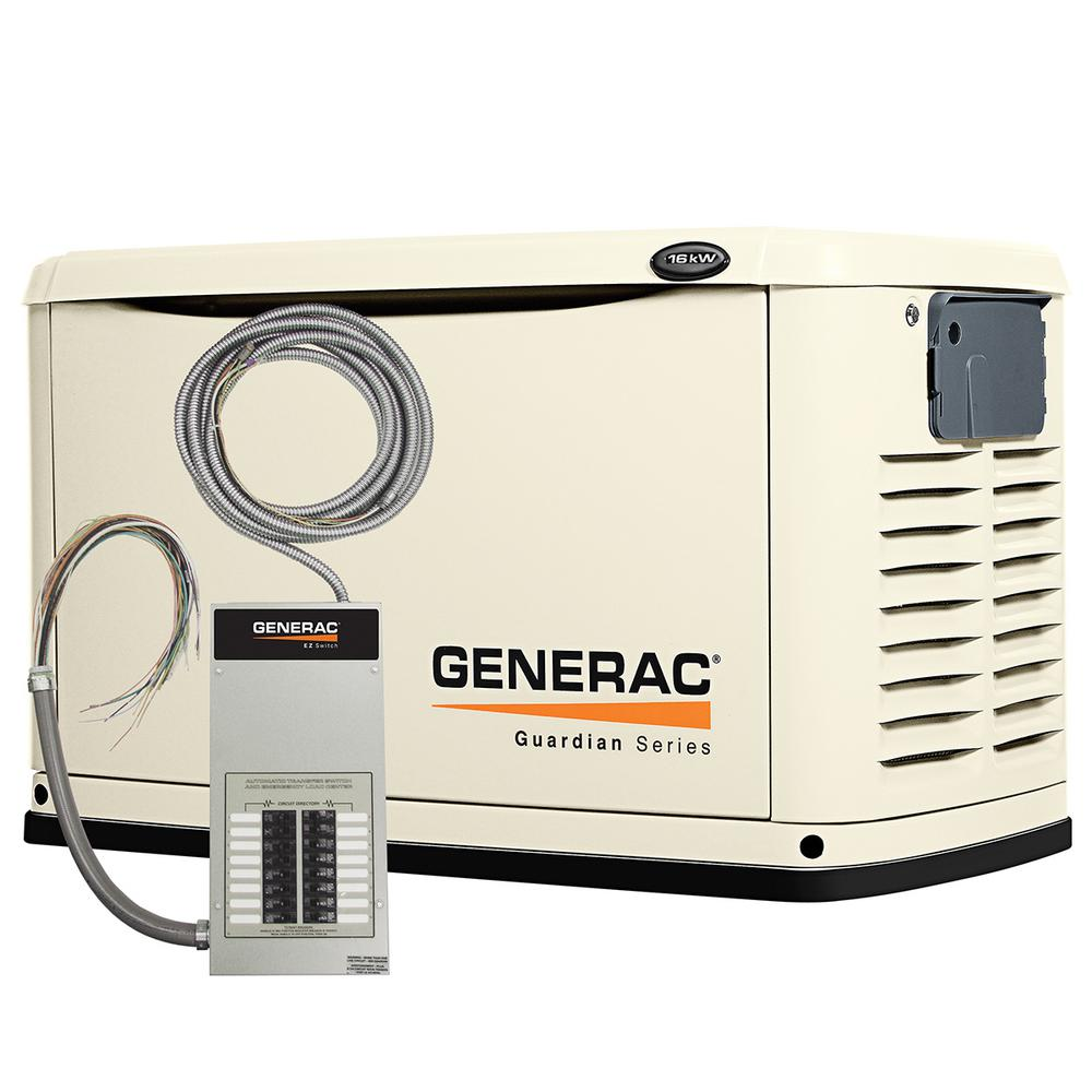 Generac 16,000-Watt Air Cooled Automatic Standby Generator with 100 Amp 16-Circuit Pre-Wired Transfer Switch
