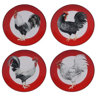 Homestead Rooster 4-Piece Country/Cottage Multi-Colored Ceramic 9 in. Dessert Plate Set (Service for 4)