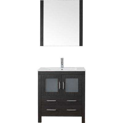 Dior 30 in. W Bath Vanity in Zebra Gray with Ceramic Vanity Top in White with Square Basin and Mirror and Faucet