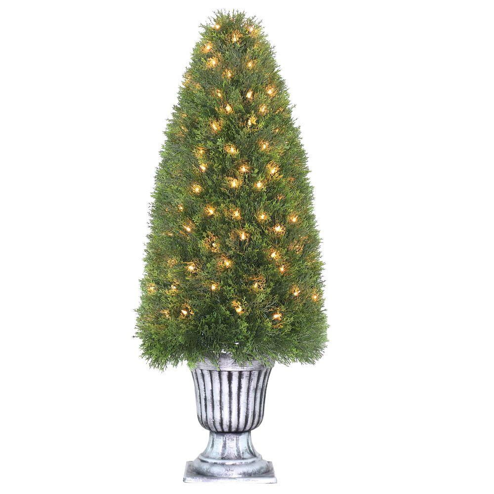 48 in. Upright Juniper Tree in Silver Urn with 150 Clear