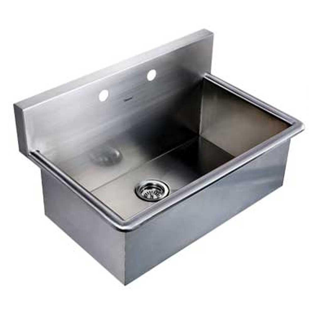 Whitehaus Collection Noahu0027s Collection Dual Mount Stainless Steel 31 In.  2 Hole Single Bowl Kitchen Sink WHNC3120 BSS   The Home Depot